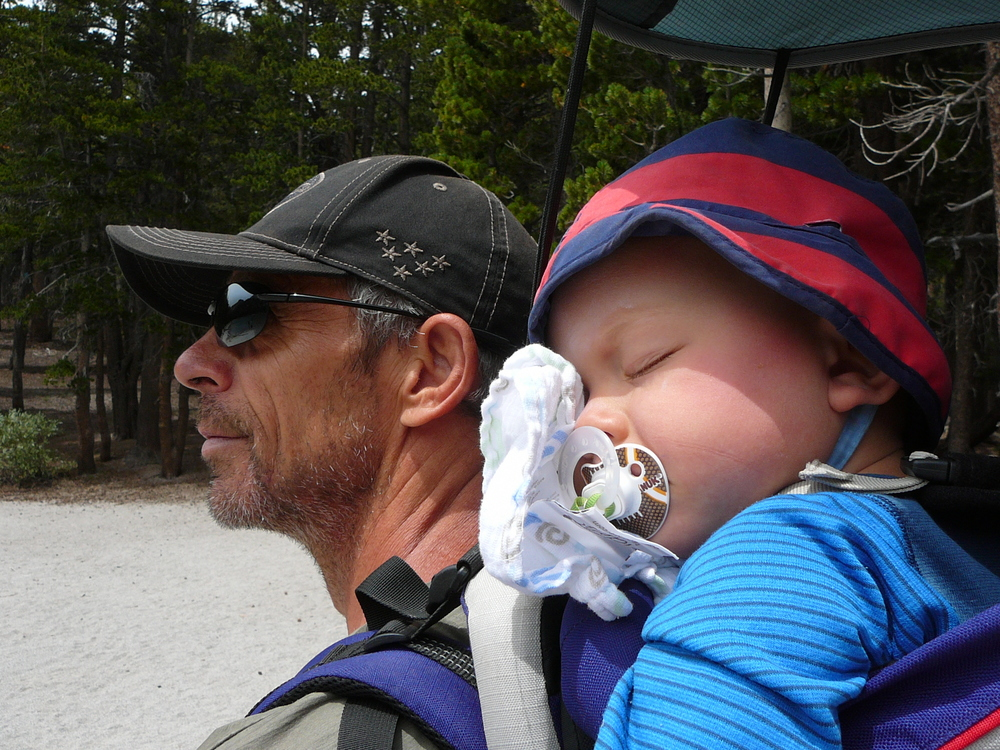 Sleeping on his granddady's back! By the way hiking with people willing to carry your baby is a big bonus, especially when your little one starts to get heavy!