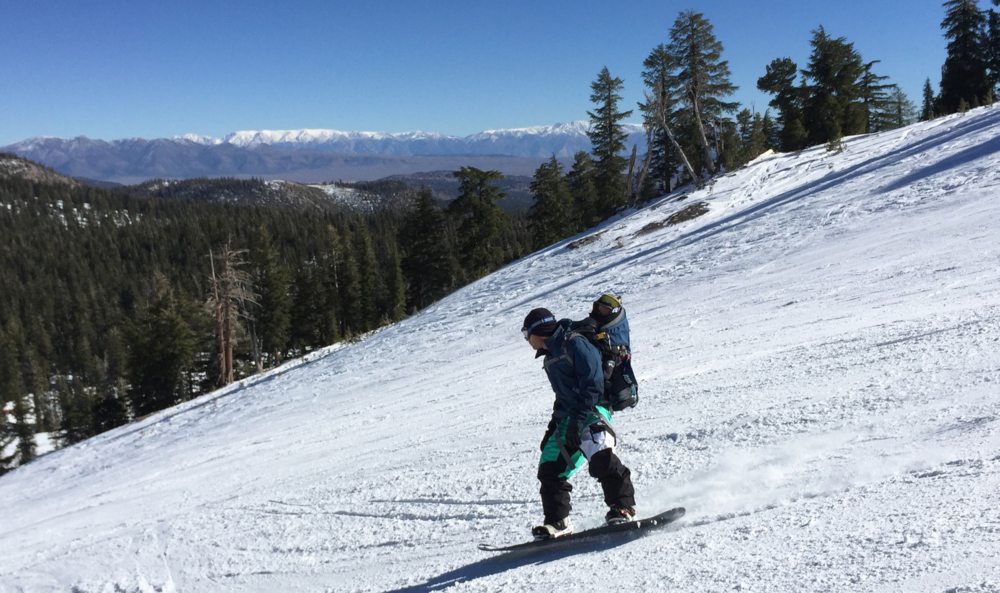 1st day snowboarding in the backpack ~  Mammoth Mountain