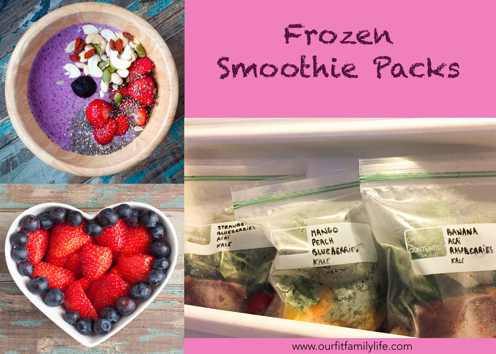 fronzen smoothie packs - healthy snacks - postpartum