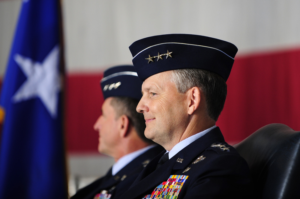 Lt. Gen. John W. Hesterman (right) listens as Gen. Lloyd J. Austin gives remarks during the Air Forces Central Command change of command ceremony at Shaw Air Force Base, S.C., July 11, 2013. Hesterman was taking over the command at the time. (Photo by Airman 1st Class Daniel Blackwell/ Air Force)