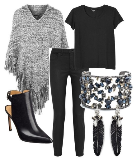Here I've paired a fringed poncho with skinny black jeans and heels for an evening look. I love all black with chic jewellery. The feather earrings and blingy cuff definitely create a glam rock look.