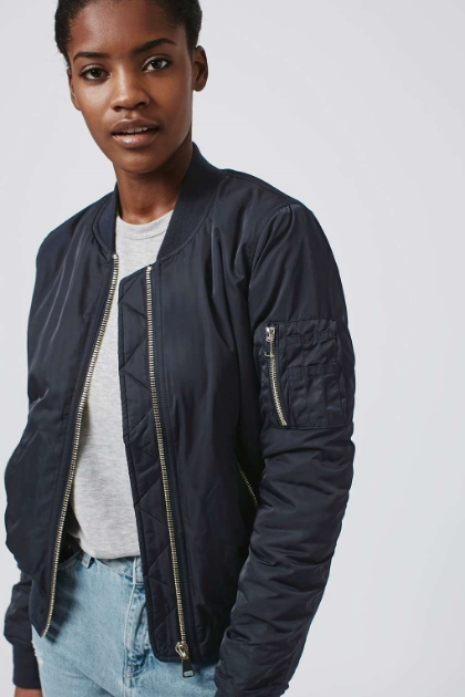 Top Shop bomber jacket in black.