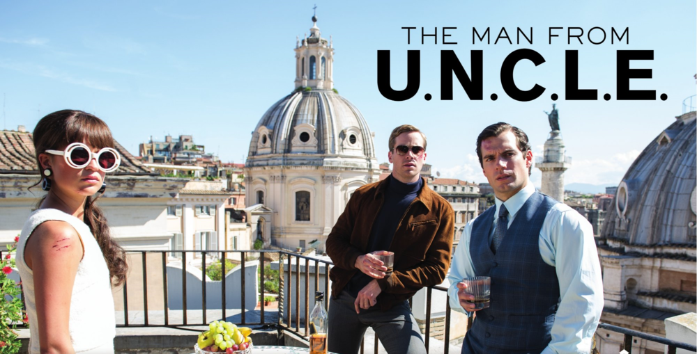 The Man From U.N.C.L.E., starring Alicia Vikander, Henry Cavill, and Armie Hammer.