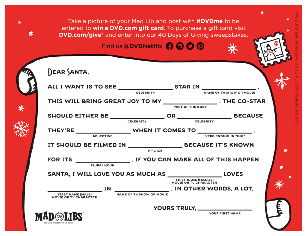 Holiday mad libs fun netflix dvd blog click the image to print it fill it out snap a pic post it on social media with hashtag dvdme and dvdnetflix to facebook twitter or instagram spiritdancerdesigns Gallery