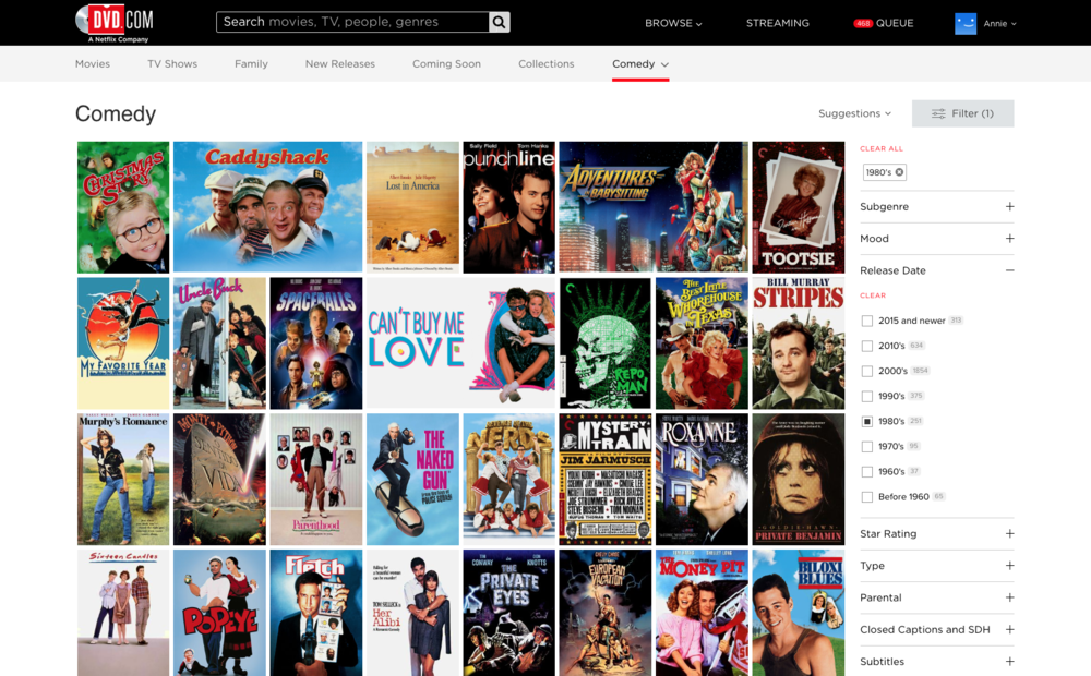 2. Start adding filters for what you want. Here, we're in the mood for '80s comedies.