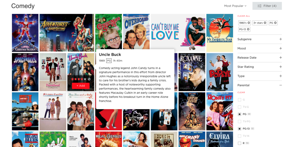 4. Finished adding your filters and found the perfect movie? Just hover over it and click the red button to add it to your queue right there.