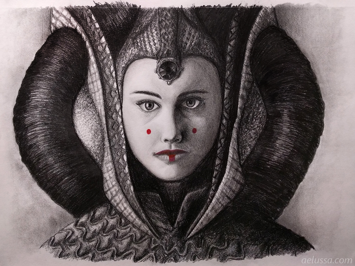 Queen padme amidala pencil drawing aelussas creative space