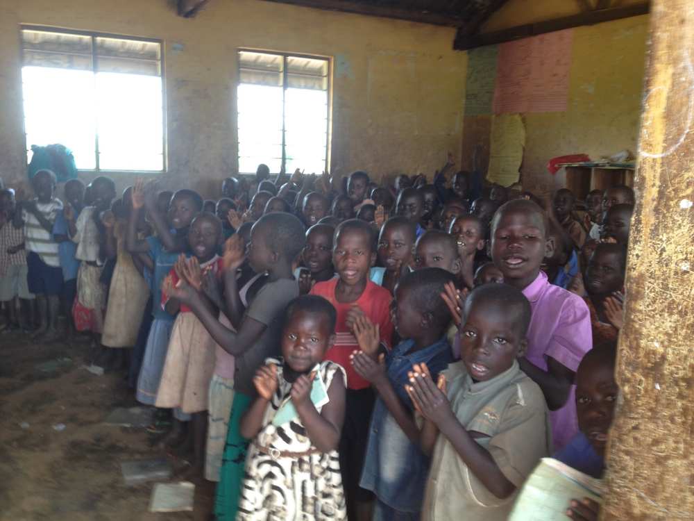 Primary school children in one classroom at Katamarwa School who will benefit from a new well.