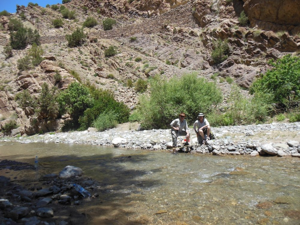 Tom and Leigh at gauging section upstream of main Ahansal River Spring.
