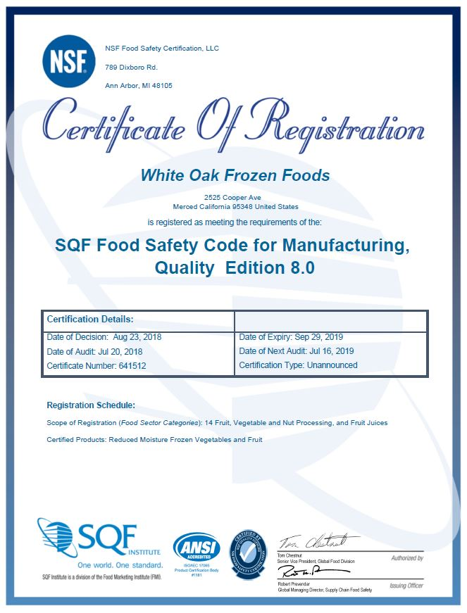 SQF Level 3 Certification — Jain Farm Fresh Foods, Inc. - Frozen ...