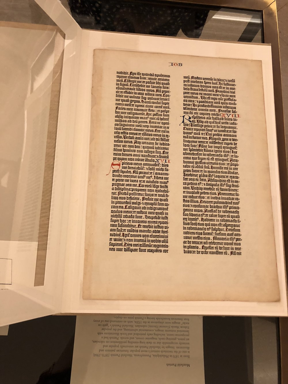 A  leaf from one of Johannes Gutenberg's original bibles, printed about 1450-Rare Books-Free Library of Philadelphia