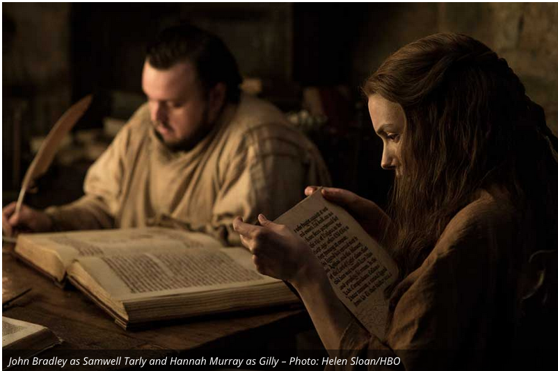 It looks like Sam is taking his studies to become a Maester seriously. He must have brought the reading material home since women aren't allowed in the library of the Citadel. Maybe they are looking for info on the white walkers. Whatever the case, Sam still hasn't given up women for the Night's Watch or Maester-dom.
