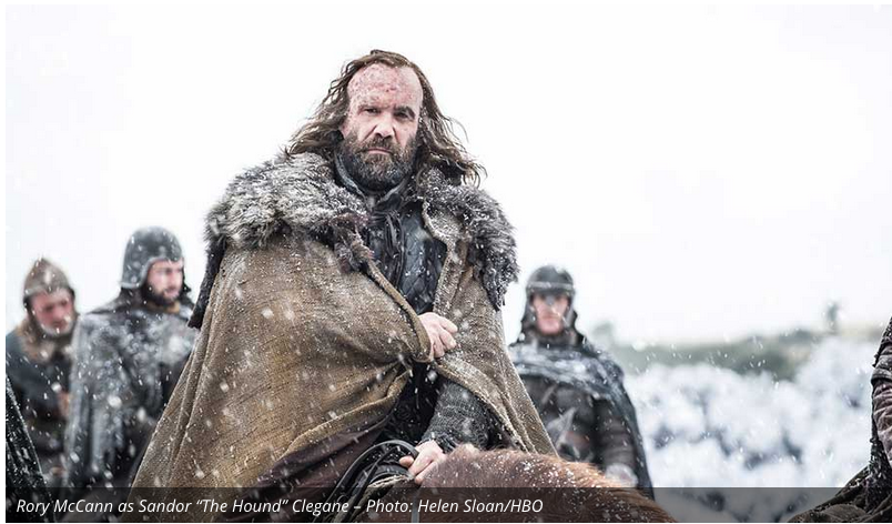 The Hound is traveling with a group of men, possibly The Brotherhood Without Banners. We will see if his switch to the good side sticks.