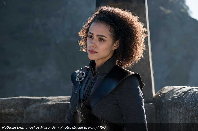 Missandei as Dany's constant companion.