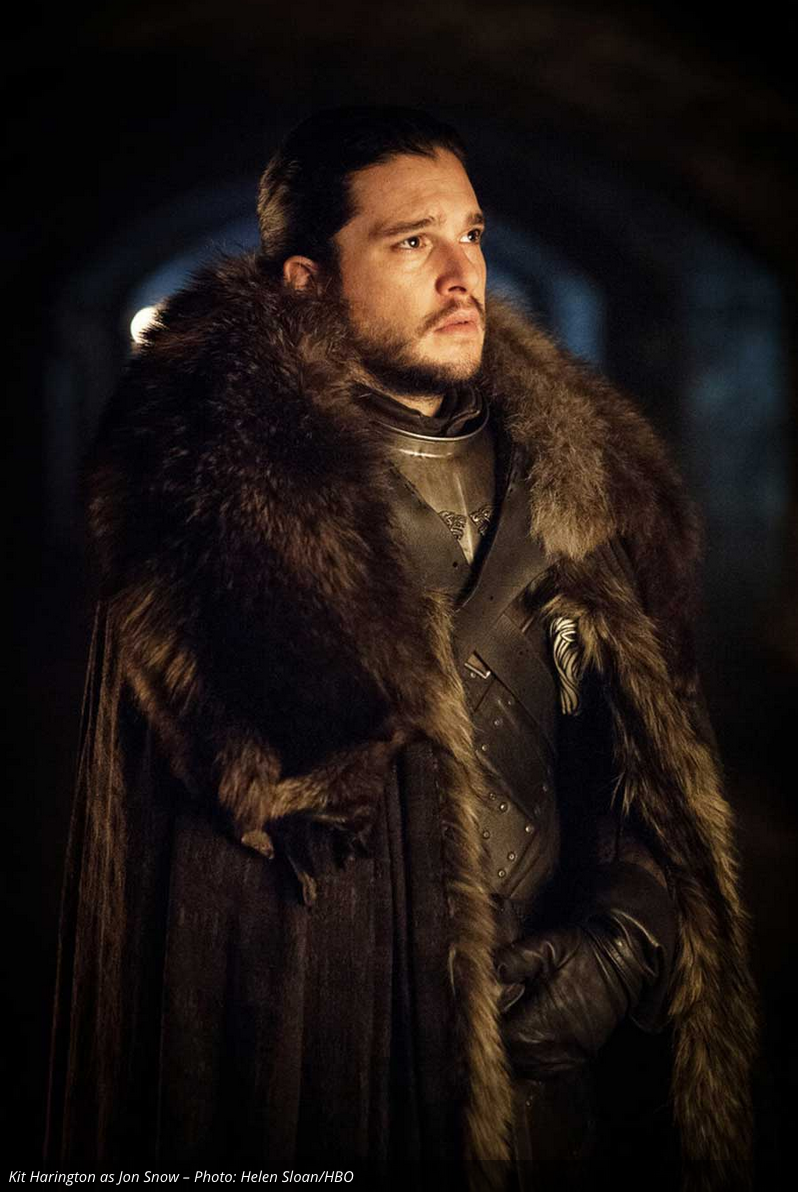 A theory behind this picture is that Jon is in the crypts of Winterfell learning about his true parentage. Whether from a ghost or real person we don't yet know.