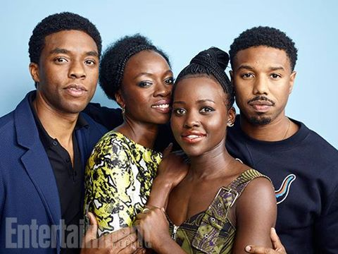 From left: Actors Boseman, Gurira, Nyong'o, and Jordan