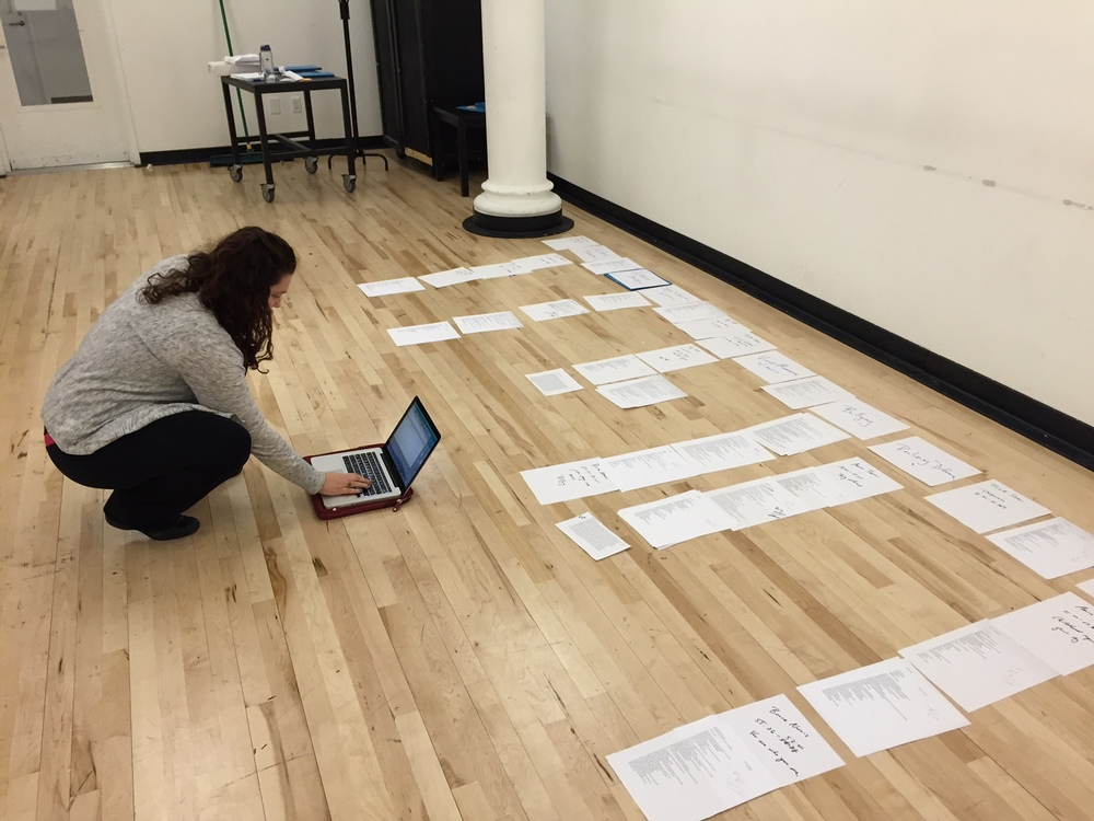 Piecing together the script with Sarah Bellantoni.