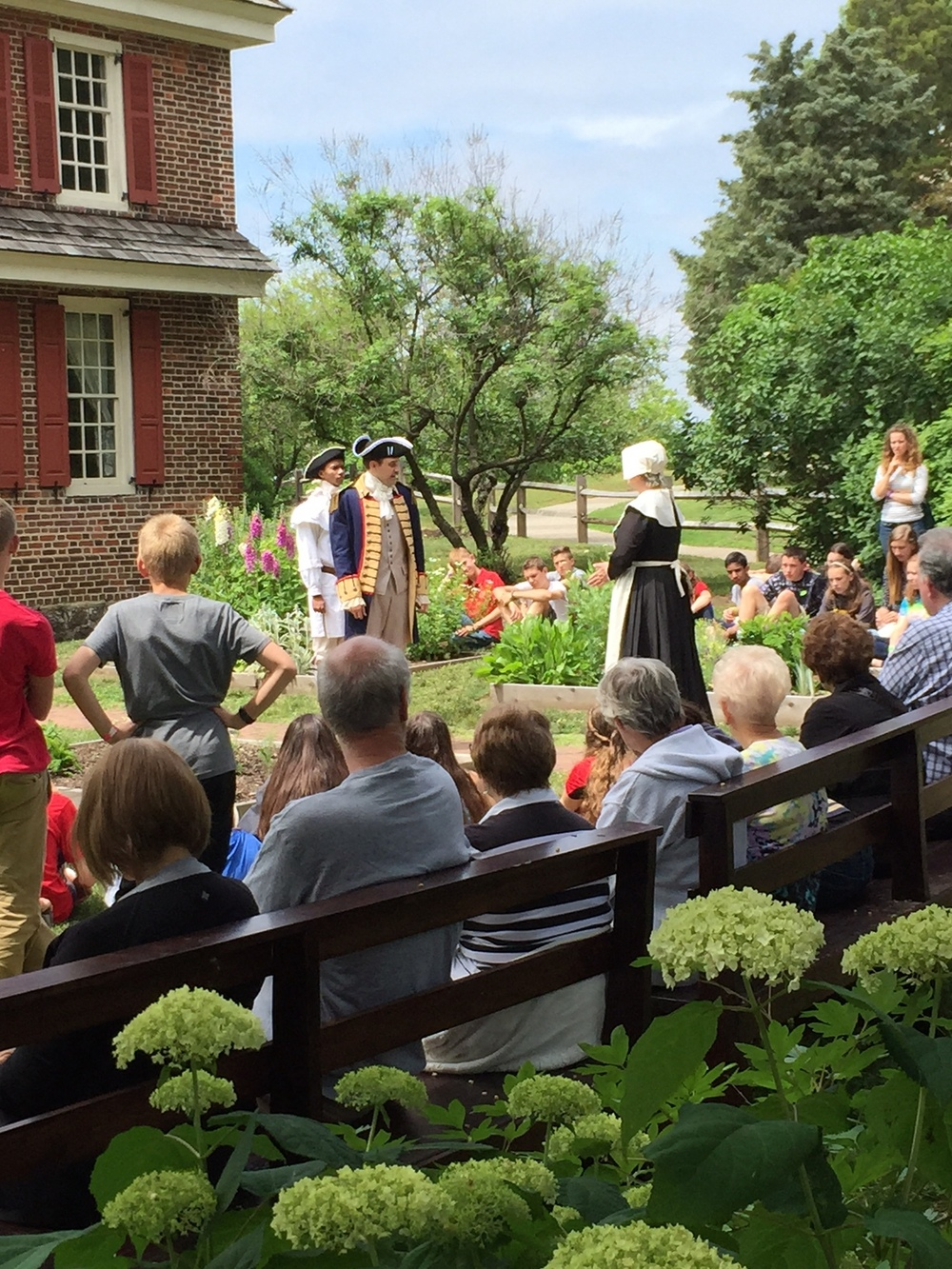 Actors performing in the herb garden behind the James & Ann Whitall House, National Park, NJ.