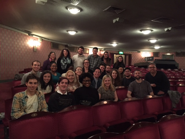 Students and staff with Peter Lockyer (front row, second from right), a Steinhardt alum starring as Jean Valjean in the West End production of Les Miserables.