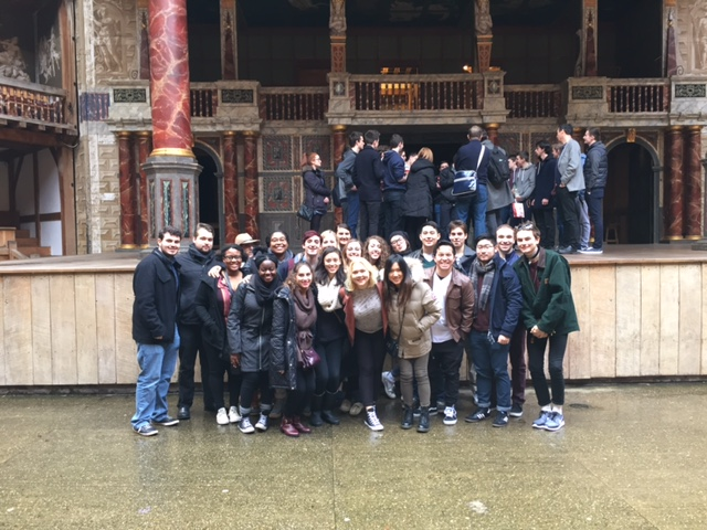 The students of DGHS London Theatre as Art Form inside Shakespeare's Globe.