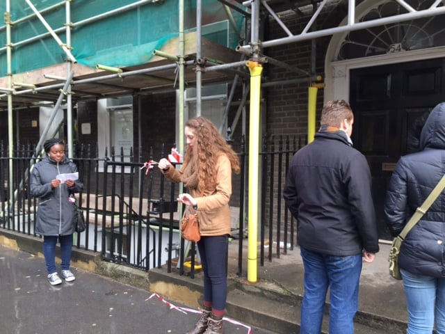 An example of a performance outside an incomplete site just off of Bedford Square.