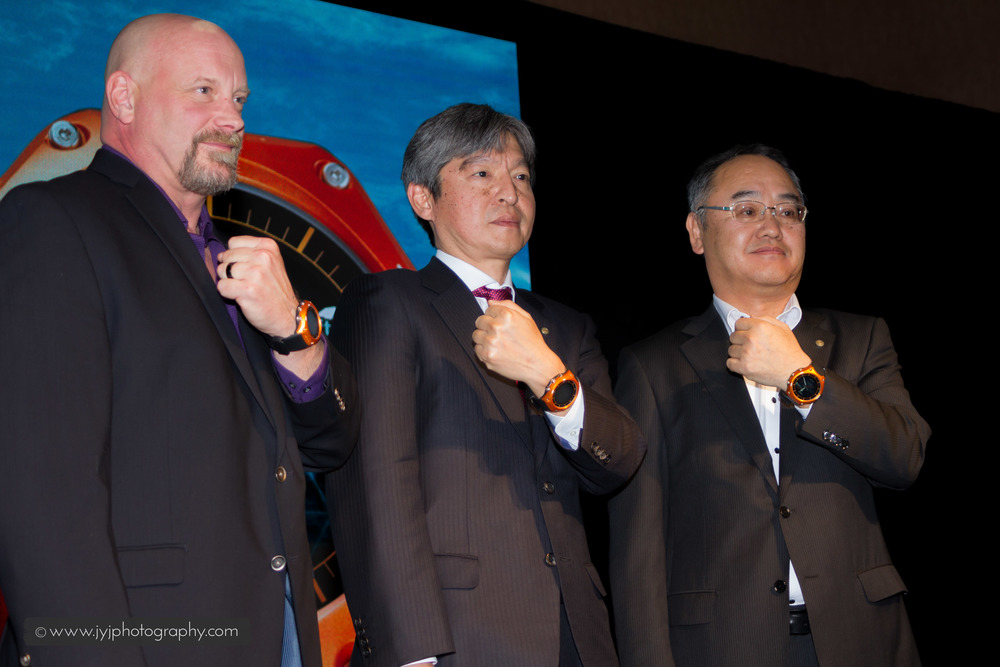 From left to right: David Johnson (VP-Casio America), Kazuhiro Kashio (President/COO-Casio Computer Co.), Shunji Minami (Business General Manager)