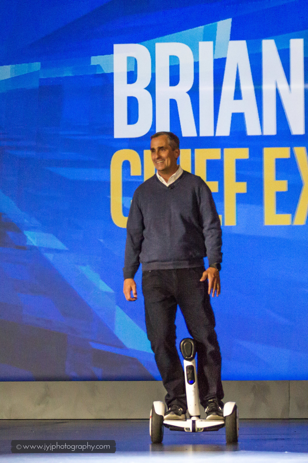 Brian Krzanich entering the stage using a Segway