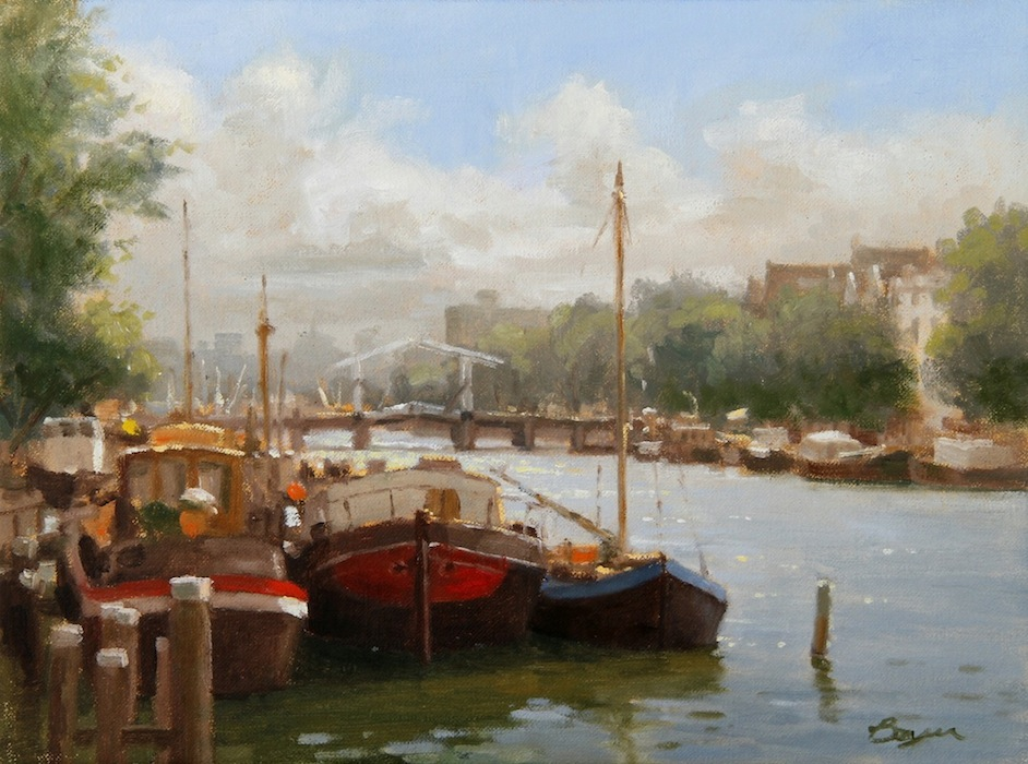 "Boats on the Oude, Amsterdam 12x16  ""sold"""