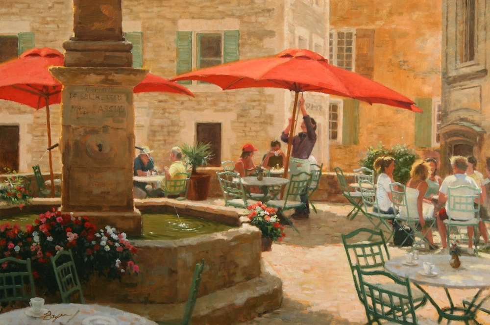 "Cafe in Gordes, Provence 24x36  ""sold"""