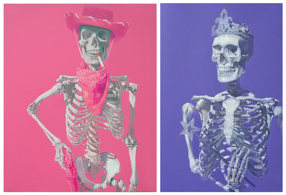 "(Left) San Antonio Rose (The Bandit Queen), 20 x 30"", Prismacolor on Canson Colorline (Fuchsia) 2016 (Right) Sleeping Beauty, 20 x 30"", Prismacolor on Canford Imperial (Royal Purple), 2015"