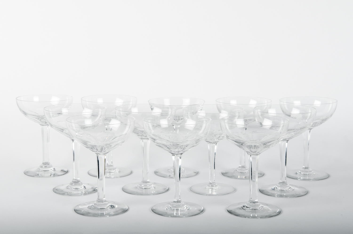 Set Of 12 Vintage Baccarat Crystal Champagne Coupes La Maison Supreme Ltd