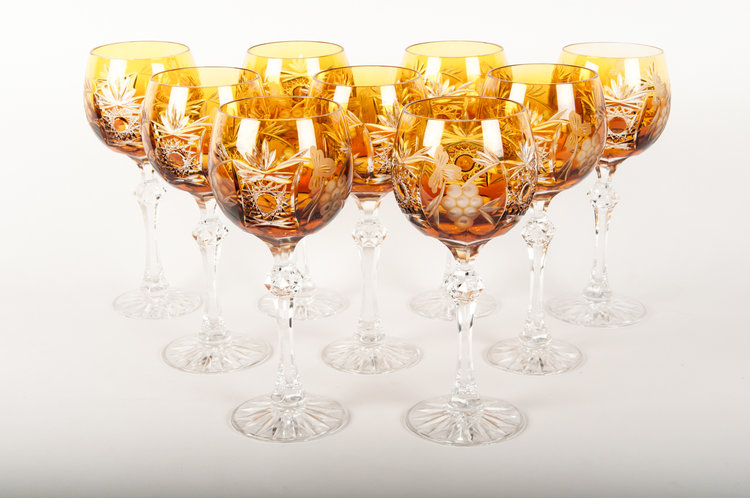 Set 9 Cut Crystal Wine Water Glasses La Maison Supreme Ltd