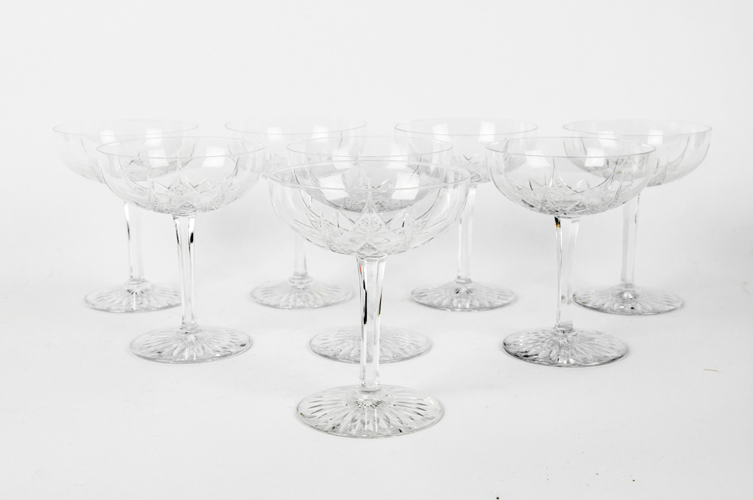 Vintage Set Eight Baccarat Crystal Champagne Coupes La Maison Supreme Ltd