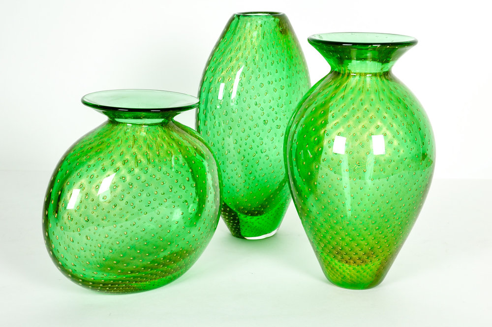 Mid Century Modern Green Murano Glass 3 Piece Vases La Maison