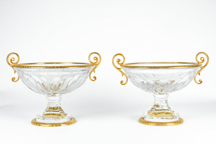 Antique Pair Of French Cut Crystal Vase With Brass Accent La