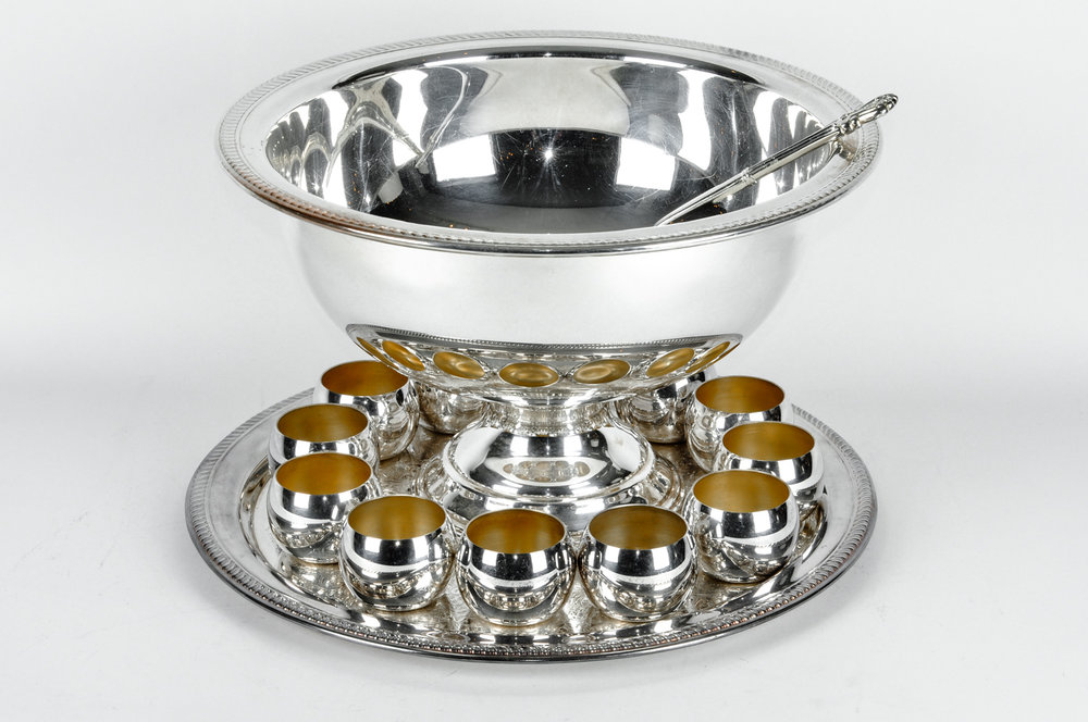 & Antique USA Silver Plated Punch Bowl Set