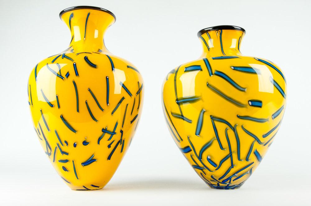 Vintage Pair Of Art Glass Decorative Vases Or Pieces La Maison