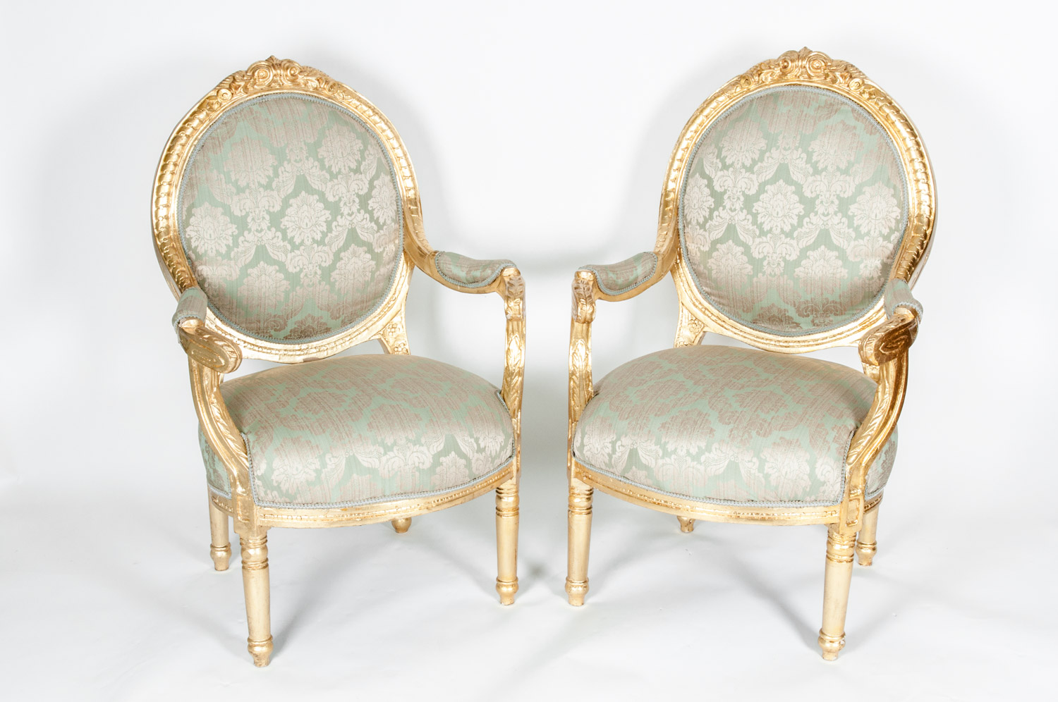 Gilded Wood French Pair Of Victorian Style Chairs La Maison