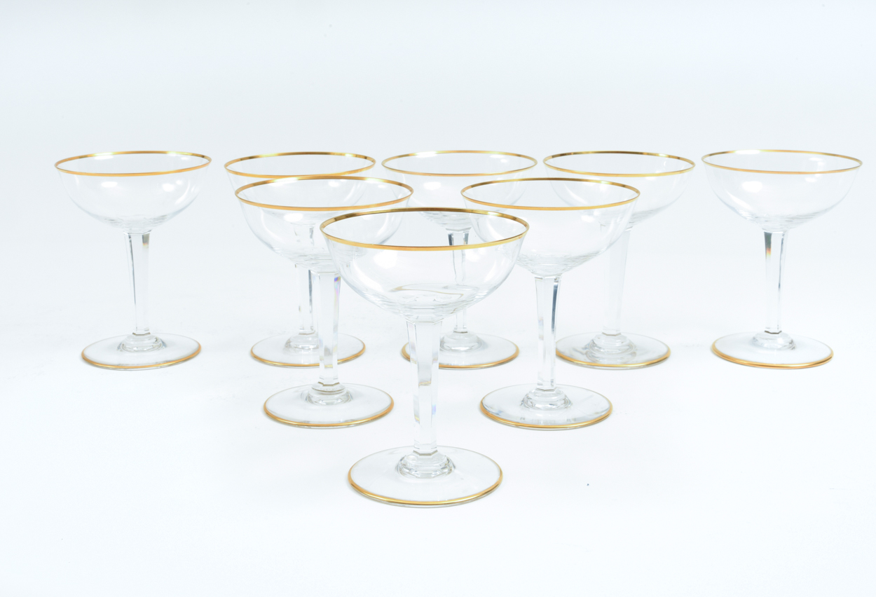 Vintage Baccarat Crystal Barware Champagne Coupe Service For Eight People La Maison Supreme Ltd