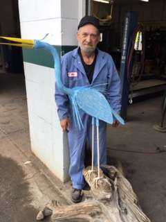 Mike Nordine with his Metal Scupture Crane.