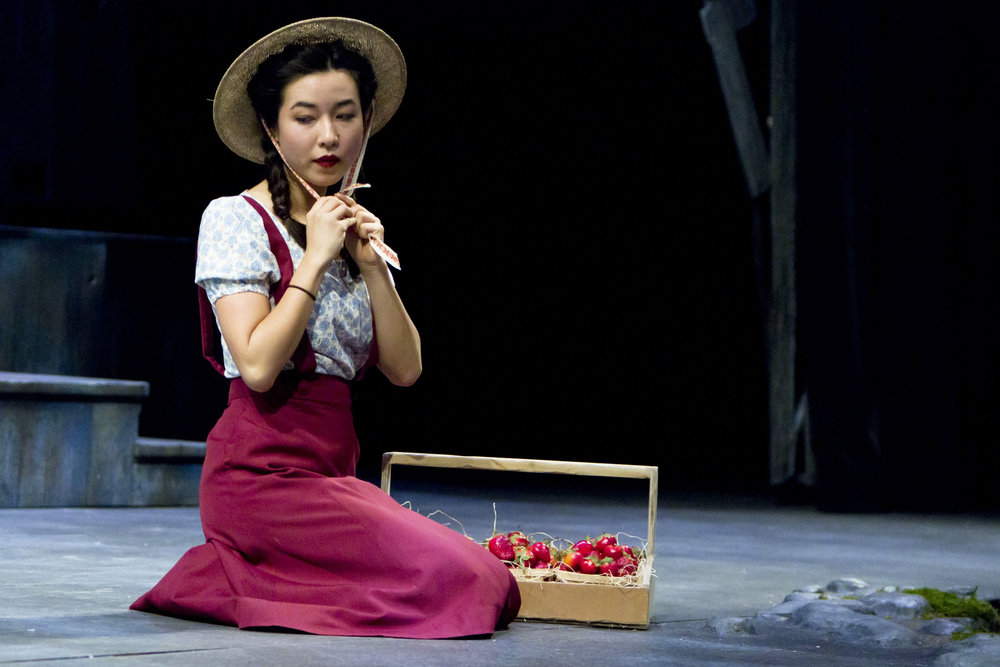 Maya Erskine as Hatsue Imada in a stage adaptation of Snow Falling on Cedars. Photo credit: Tracy Martin