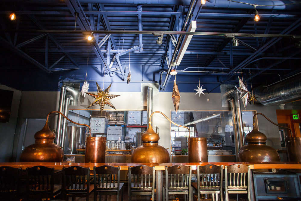 Inside Bluewater overlooking the interior of the distillery. PC: Ron Cook