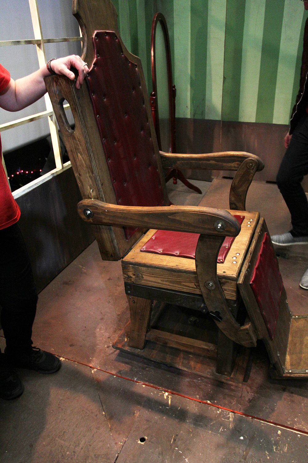 Built in 6 weeks, the chair swivels, dips, and locks back into place. Eerily realistic.