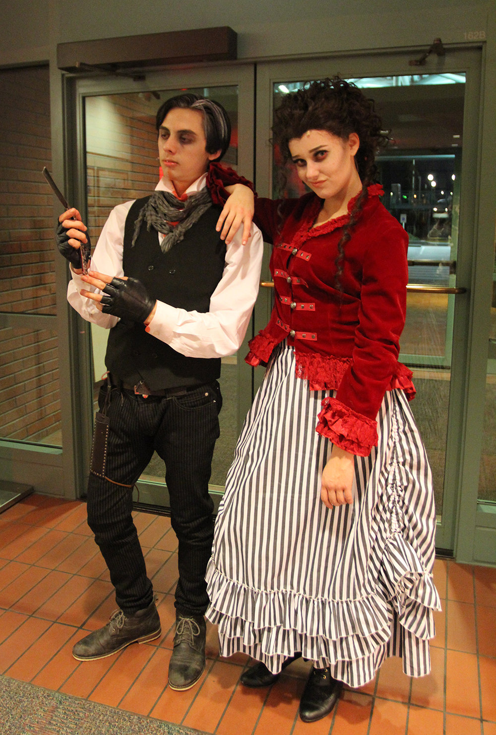 Sweeney Todd (Erik Oritz, 16) and Mrs. Lovett (Emma Hanson, 18).