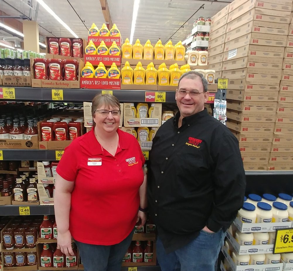 Debbie and Tod Jackson—Grocery Outlet owners—plus some very reasonably-priced condiments // Christopher Bragg