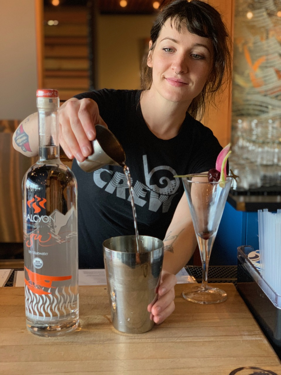 Cocktail director Maggie Burton mixing it up at Bluewater // Photo courtesy Bluewater Distilling