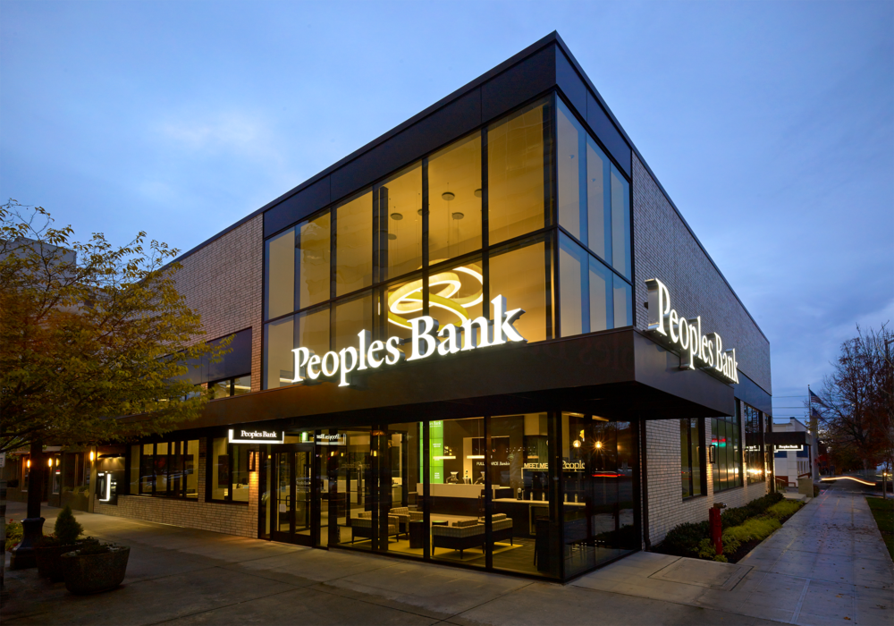 Peoples Bank's Everett Financial Center at Colby & Everett Ave // Courtesy Peoples Bank