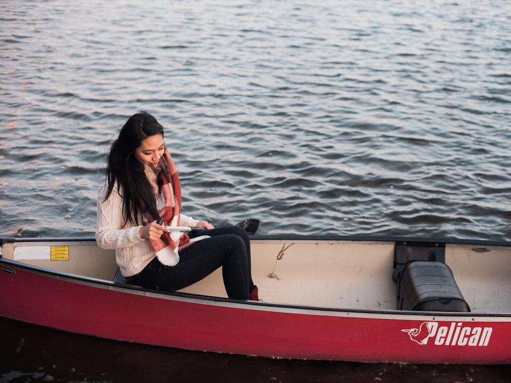 Lake canoe engagement fiona chiu photography