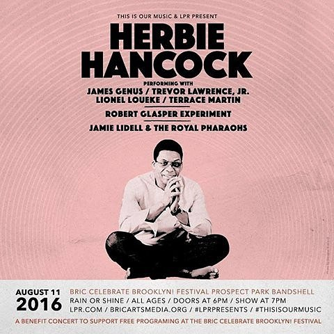 This won't be World Jazz but it be WORLD CLASS jazz. Our friends at @lprnyc are bringing the great Herbie Hancock to Celebrate Brooklyn in Prospect Park. One of the best shows of the summer! Opa!