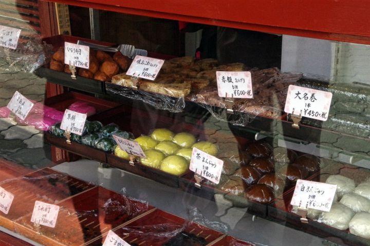 Japanese sweets in a showcase at Benkei tempting passersby.